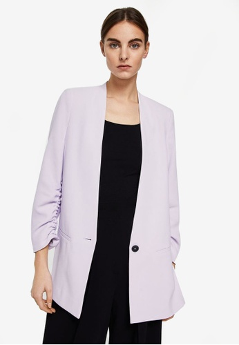 Mango purple Ruched Sleeves Blazer 0A807AAED61F01GS_1