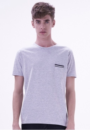 Drum grey Comfy Plain Tee With Single Pocket DR425AA42HTLMY_1