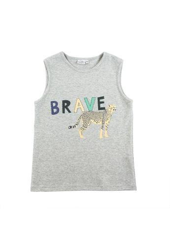 Vauva grey Vauva Kooala Boys Brave Leopard Vest - Grey D79E9KAD0AE53AGS_1