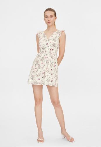 Pomelo white V Neck Frill Shoulder Floral Dress - White 50F3FAADF73556GS_1