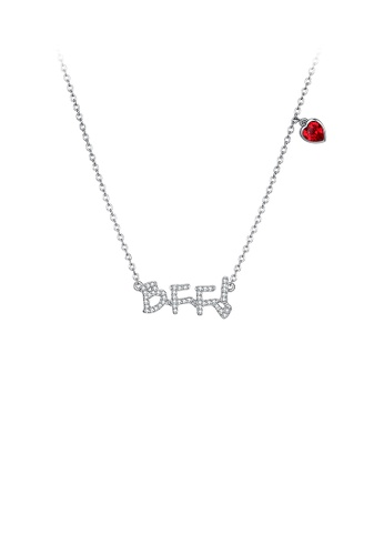 Glamorousky white 925 Sterling Silver Fashion Letter BFF and Red Heart Necklace with Austrian Element Crystal D4B86AC5743C46GS_1