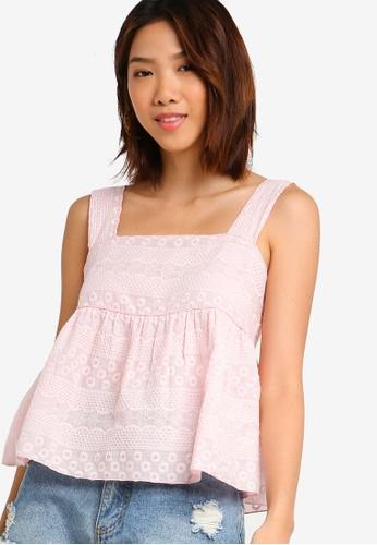 Something Borrowed 粉紅色 刺繡娃娃上衣 294D3AA8627505GS_1