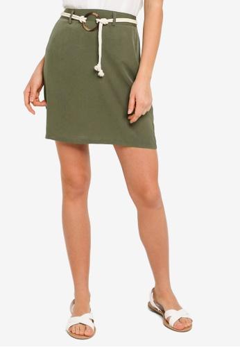 ZALORA BASICS green Round Buckle Mini Skirt 5908FAA54474E7GS_1