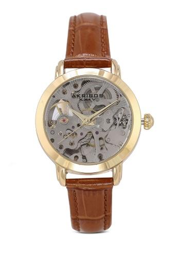 Akribos XXIV 褐色 鱷魚紋皮革錶帶手錶 A677EAC1901A79GS_1
