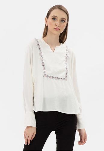 MKY Clothing white MKY Orange Navy Ribbon Square Blouse E0DBBAA425CEE6GS_1