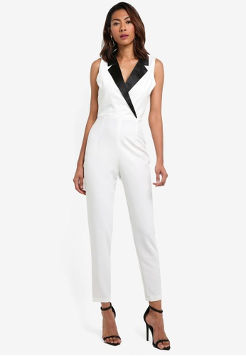 Vesper white Tyra Tux Style Jumpsuit B9EC3AA75BF908GS_1