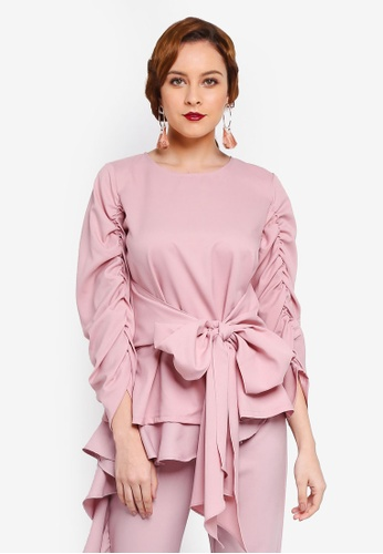 Lubna pink Gathered Sleeve Front Tied Top 662B3AAFF2A94AGS_1