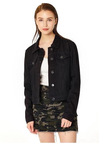 London Rag black Black Distressed Denim Jacket 6ED9DAA57F9302GS_1