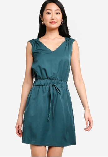 ZALORA BASICS green Drawstring Mini Dress 35523AA74D03C5GS_1