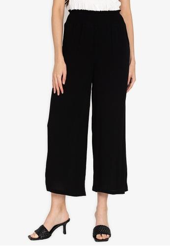 ZALORA BASICS black Smocked Waist Wide Leg Pants F97CBAA4FAF7DFGS_1
