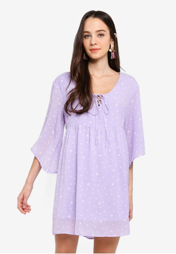 Something Borrowed purple Front Tie Chiffon Swing Dress E28BEAA1F82479GS_1