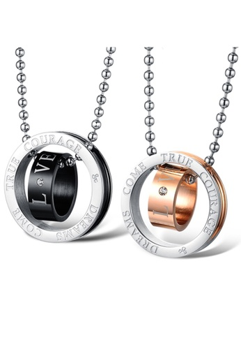 Trendyshop black and silver and gold Love Couples Pendant Necklace 1 Set TR116AC2WD8CHK_1