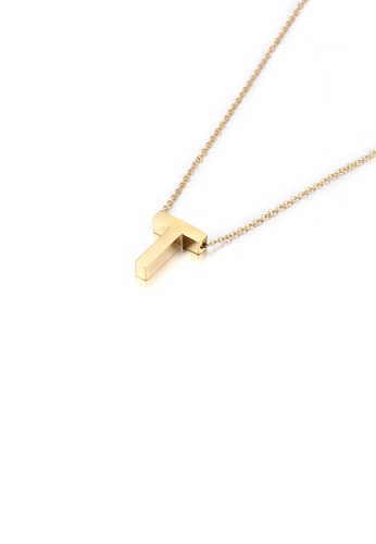 Glamorousky silver Simple Personality Plated Gold English Alphabet T 316L Stainless Steel Pendant with Necklace 7B029ACA4E4040GS_1