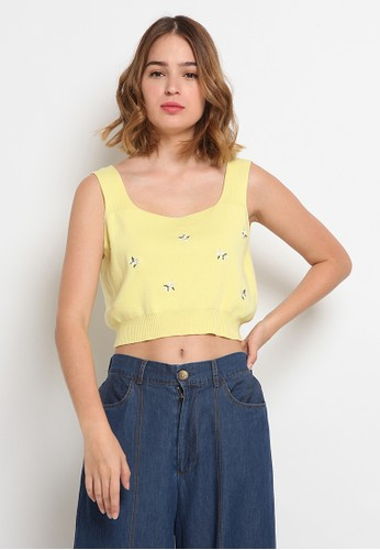 et cetera yellow Crop Embroidery Vest 91209AA7C0A177GS_1