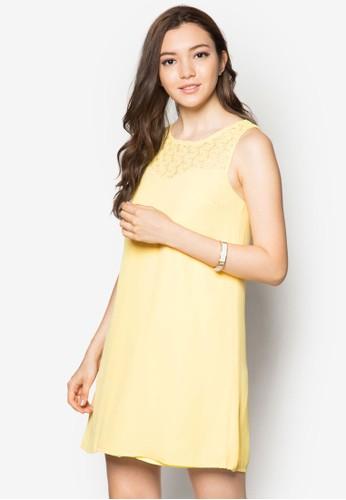 鉤花zalora開箱拼接無袖連身裙, 服飾, 洋裝