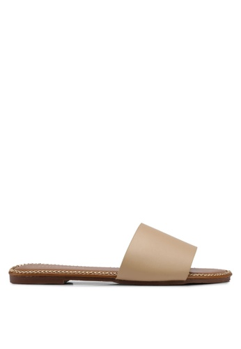 Mimosa beige Chain Detail Slip On Sandals 15582SH05CE7AFGS_1