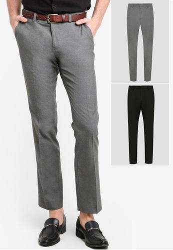 Burton Menswear London black and grey Twin Pack Trousers BU964AA89XUWMY_1