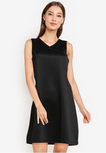 ZALORA WORK black Shift Dress With Buttons 9CAE7AA4558026GS_1