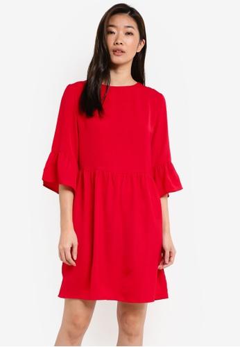 ZALORA red Ruffle Sleeve Fit & Flare Dress 666B7AA149806DGS_1