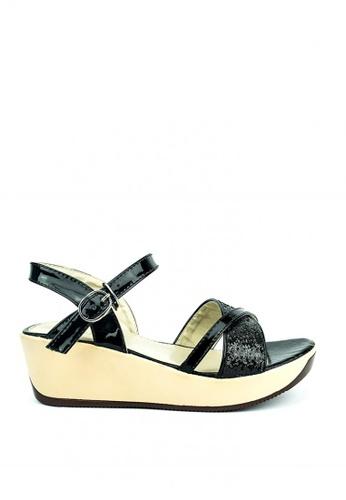 Cardam's Lifestyle black Nikka Wedge Sandals B3ED1SH41F56B2GS_1