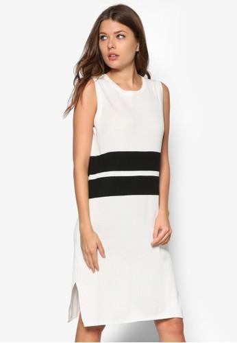 撞色條紋無袖連身裙, 服esprit taiwan飾, 夏日洋裝