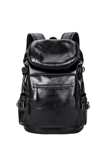 Lara black Men's Leather Student Backpack Computer Bag - Black 81F65AC0C6C8DAGS_1