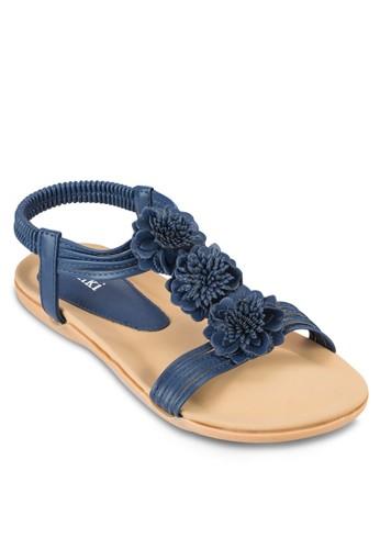 花飾踝帶平底涼鞋, 女esprit retail鞋, 涼鞋