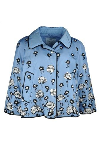 Prada blue Prada Waterproof Flora Snapped Jacket in Blue F9A3AAA8D4AB87GS_1