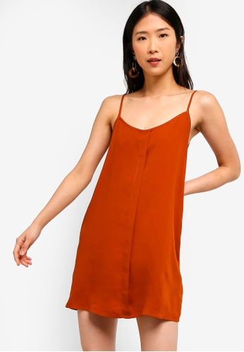 ZALORA BASICS orange Basic Front Placket Cami Dress 03717AACF5D1C3GS_1