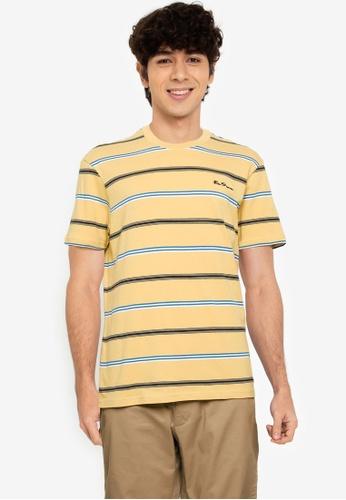 Ben Sherman yellow Collegiate Stripe Tee 9DB25AA98D05BAGS_1