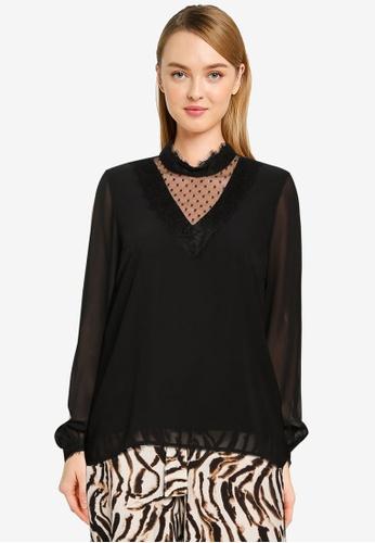Vero Moda black Bella Long Sleeve Lace Top CEE0AAAB051BF2GS_1