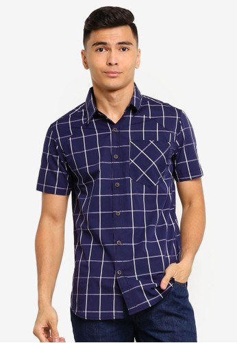 Fidelio navy Checkered Signature Short Sleeve Shirt A7FEFAADE25AEBGS_1