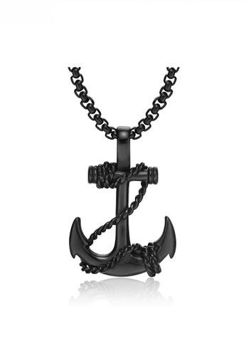 HAPPY FRIDAYS black Anchor Cross Pendant Necklace JW OK-1134 F5874AC67AEBAEGS_1