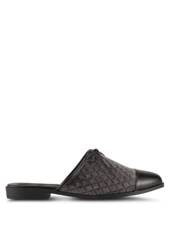 Something Borrowed grey Quilted Slide Flats A279ESH20C173DGS_1