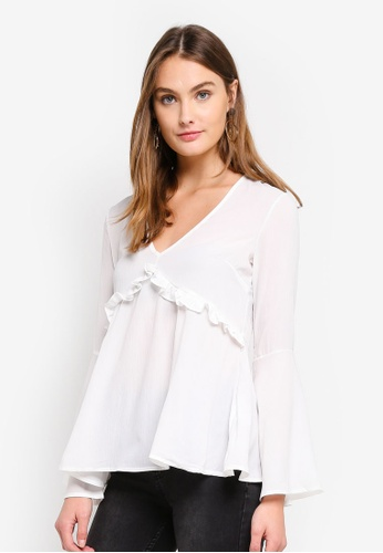 Brave Soul white V Neck Top With Bell Sleeve DDDEDAA2F496CDGS_1
