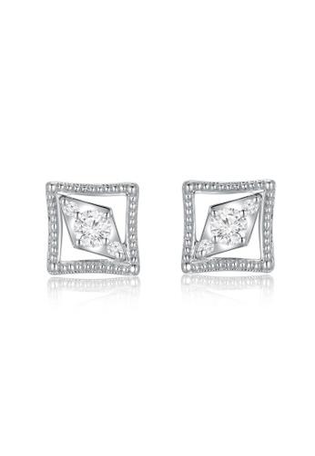 MaBelle silver 18K/750 White Color Gold Diamond Square Shaped Earrings 527D3ACD49BDA5GS_1