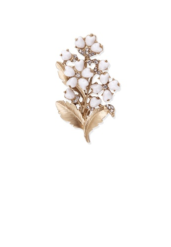 Glamorousky silver Fashion and Elegant Plated Gold Flower Brooch with Cubic Zirconia 0A59EAC4A48763GS_1