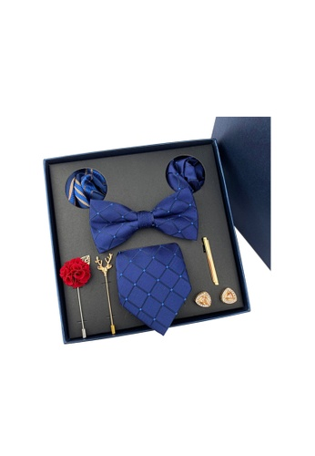 Kings Collection blue Bow Tie, Pocket Square, Brooch, Tie Clip 8 Pieces Gift Set (KCBT2036) D2B7CAC31EE625GS_1