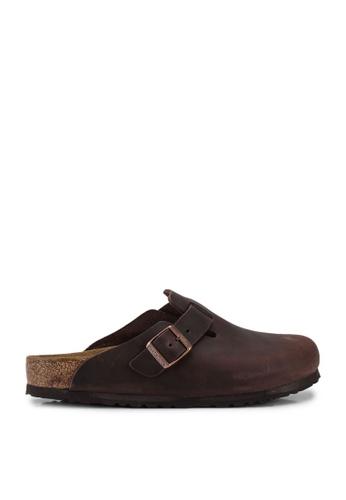 Birkenstock brown Boston Oiled Leather Sandals 64011SH0CE7059GS_1