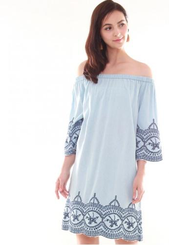 JOVET blue Embroidery Off Shoulder Dress 052DAAAFFAE8ADGS_1