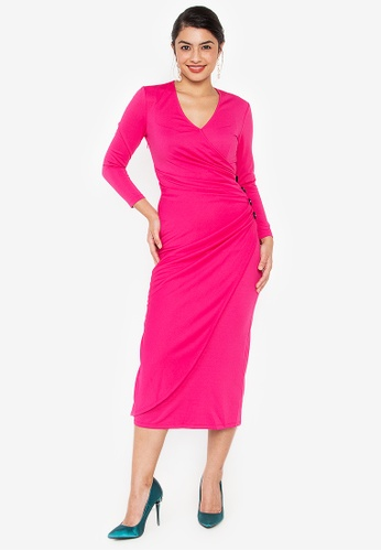 Wear Kris pink Kirsten Overlap Knit Dress with Button Detail E4830AA0791362GS_1