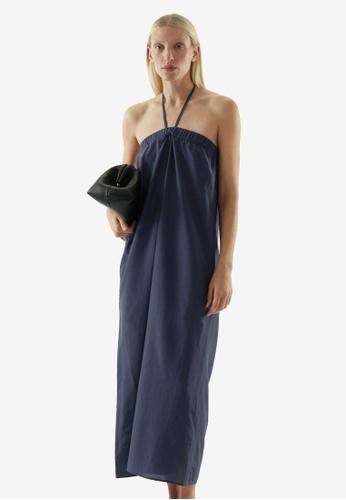 Cos blue Cotton Mix Strapless Dress C4B66AA8FCA93BGS_1