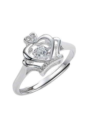 Elfi silver Elfi 925 Genuine Silver Engagement Dancing Stone Ring P61 - The Dancing Crown E249FACF0E4902GS_1