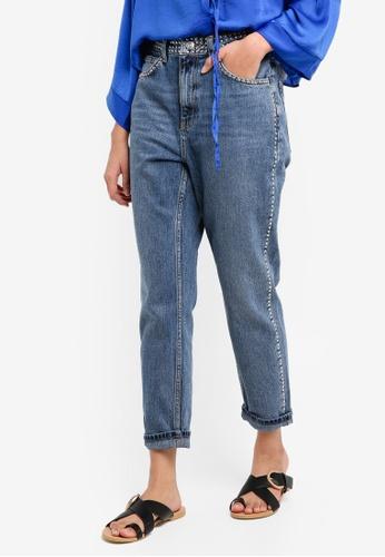 TOPSHOP 藍色 Moto Mid Blue Stud Mom Jeans 51840AA56D7850GS_1