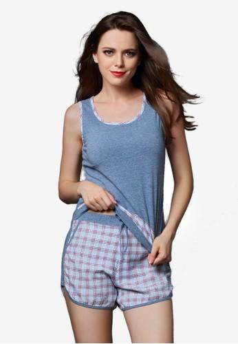 格紋背心短褲睡衣套裝,esprit hk store 服飾, 睡衣套裝
