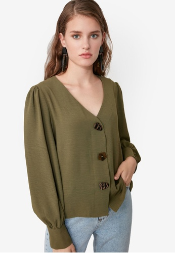 Trendyol green Button Detailed Puff Sleeve Blouse 28D6CAAA47DD1CGS_1