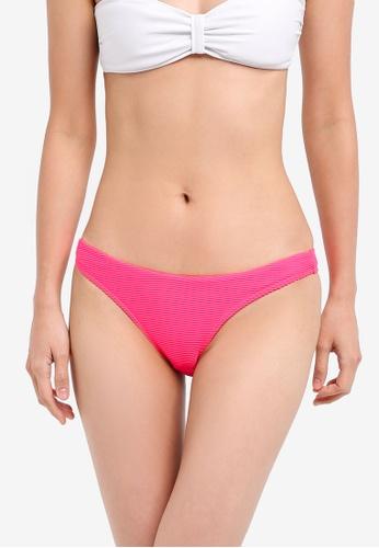 TOPSHOP pink Ribbed High Leg Bikini Bottom TO412US0SIVFMY_1