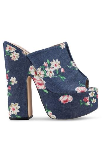Nose 藍色 Denim Floral Print Slide On High Heels 13DC7SHC418413GS_1