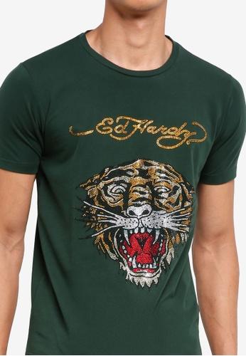 1af29557 Buy Ed Hardy Ed Hardy Tiger Rhinestone Embroidered Round Neck Tee Online    ZALORA Malaysia