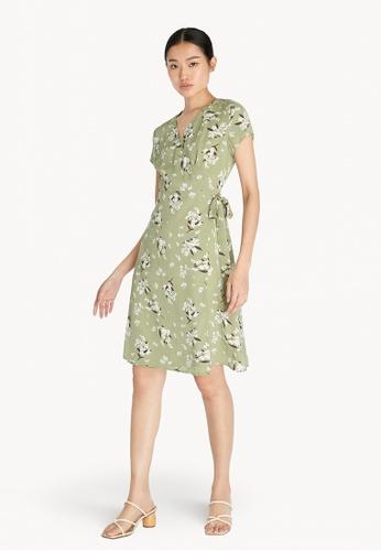 Pomelo green Floral Wrap Dress - Green 8E609AA9E0B4F8GS_1